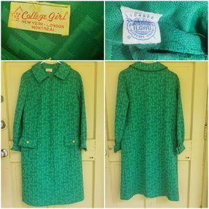Vintage College Girl Zip front dress coat